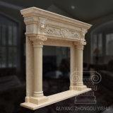 Scultura di marmo naturale del camino di disegno classico semplice giallo del reticolo