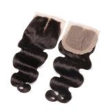 4X4ボディ波の人間の高品質の毛のToupeeのスイスのレースのブラジル人の毛
