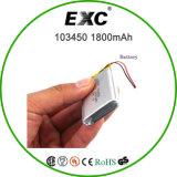 3.7V 1800mAh Li-IonenBattery Cell 103450 voor GPS