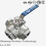 Válvula de bola de acero inoxidable con plataforma reducida ISO