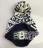 Mulheres Design OEM Lado Tricô Inverno POM POM Hat Beanie Hat