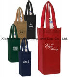 Tecido não tecido tecido ecológico e promocional feito sob encomenda Reutilizável 4 garrafas de vinho Carry Bag