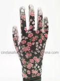 Яркие цветы в саду печати рабочих PU перчатки