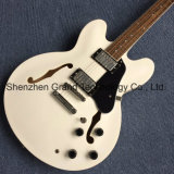 Orifícios do corpo oco de dupla F guitarra eléctrica em branco (TJ-112)