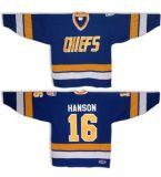Выход на заводе 16 домкрат Хансон 17 Стив Хансон 18 Jff Хансон братьев Slapshot Movie Чарлстаун вождей хоккей белый/синий Custom любое имя любой №