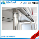 Banco de trabalho robusto reforçado de Backsplash da construção da câmara de ar de 2 camadas prateleira redonda inoxidável com pé ajustável da altura