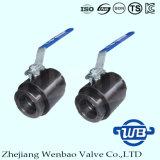 Válvula de bola de la forja del hilo de rosca de la alta presión del acero de carbón 2PC