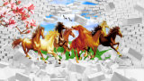 идущая картина маслом лошадей 3D напечатанная цифров для домашнего украшения