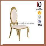 Moderne Oval-Rückseiten-Hochzeits-Rosen-goldene Hotel-Gaststätte-lebenEsszimmer-Möbel-Edelstahl-Stuhl