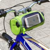 乗馬および野外活動Esg10163のための透過袋が付いている円柱携帯用自転車のバイクの前部ハンドルバー袋を循環させる自転車袋