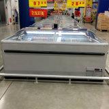 El congelador del alimento congelado combinó el congelador de la isla usado para la carne y los pescados
