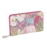 동향 꽃 무늬 여자 지갑 큰 크기 PU 가죽 전화 부대 카드 지갑
