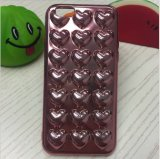 Влюбленность 3 d гальванизируя TPU следуя за от раковин стерео мобильного телефона сердец TPU мягких следуя за от Apple