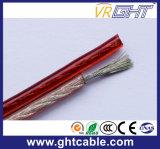 빨강과 까만 투명한 유연한 스피커 케이블 (2X1.0mmsq CCA 지휘자)