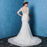 2017 절반 소매 레이스 인어 형식 긴 신부 결혼 예복