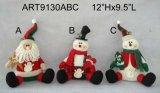 """12.5 """" H che si siedono Santa e pupazzo di neve, decorazione di Asst-Natale 2"""