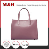 Bolsa de mão feminina rosa de couro genuíno