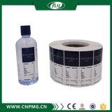 Etiqueta engomada plástica adhesiva impermeable de la botella del rodillo