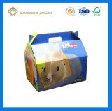 Forma de Maletín portátil Caja de cartón ondulado con diseño personalizado de impresión (con mango de plástico)