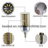 LEIDENE van het Lichaam van de LEIDENE Kleur van het Graan de Lichte E12 20W Warme Witte Zilveren Lamp van de Bol