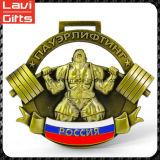 Медаль спорта пожалования старого золота металла овальное с тесемкой