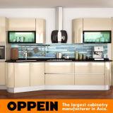 Eco-Friendly Oppein Luz Champagne acrílico del gabinete de cocina (OP14-057)