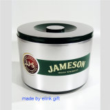 10L'aluminium métal de grande capacité effet argenté Jameson seau à glace en plastique à double paroi avec crépine