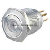 19mmの点によって照らされる平らなヘッド瞬時1no1ncステンレス鋼の押しボタンスイッチ