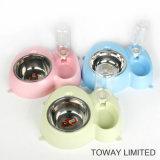 Fuente de plástico PET con perro tazones de agua