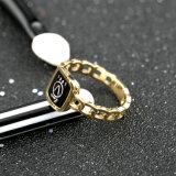 Anel de dedo elegante do alfabeto do ouro de Rosa do aço inoxidável da forma da jóia