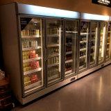 유리제 문 슈퍼마켓 진열장 냉장고 1800L 강직한 전시 냉각기
