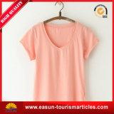 Le T-shirt de V-Collet de femmes de mode de fabrication d'usine reçoivent le logo