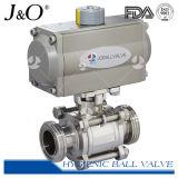 Vanne à bille à gaz en acier inoxydable sanitaire à 3PCS avec actionneur