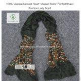 100% dickflüssige neueste Heart-Shaped Blume gedruckte Schal-Form-Dame Scarf
