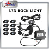Comercio al por mayor precio de fábrica 4/6/8/12 Vainas Bluetooth Mini LED RGB de la luz de la roca 2 pulgadas de 9W RGB Impermeable IP68 off road Rock Kit de luz LED