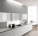 白く光沢度の高いラッカーは台所の流しが付いている食器棚のために終わった