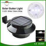 Lampada solare rotonda del giardino della rete fissa dell'indicatore luminoso della grondaia del LED con le alte LED illuminazione esterne luminose di 3PCS