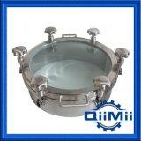 外形図のガラス蓋が付いている衛生非ステンレス鋼圧力マンホール