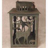 Lanterna quadrata antica della casa del giardino del metallo dello stagno