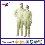 Luz - roupa de seda amarela médica e do laboratório do uso do ESD ESD