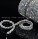 Ss28 6mm coser en cristal Ab colores hechos a mano flor de la Copa Rhinestone cadena de encaje de oro de garra de latón de la cadena de la Copa