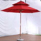 パラソルのプールサイドの倍の木の円形の傘