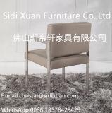 Presidenza pranzante di cuoio della mobilia del blocco per grafici moderno dell'acciaio inossidabile con la presidenza di svago del bracciolo