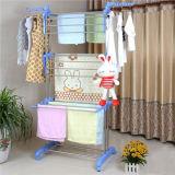 3 couches de haute qualité chiffon 24 tiges Rack Blanchisserie Hanger avec les roues pour le séchage des vêtements (JP-CR300WMS)