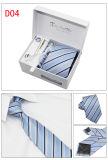 A caixa de presente do laço ajusta o laço tecido jacquard do poliéster dos homens Handmade com Pin de laço de harmonização do botão de punho de lenço (D01/02/03/04)