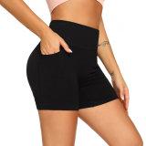 Pocket Shorts apertados de exercícios de ioga ioga alta relação cintura quadril elevação executando Fitness calças curtas mulheres