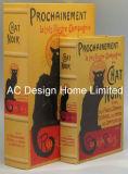 S/2 Cat Design PU del cuero y madera MDF Cuadro de la libreta de almacenamiento de impresión