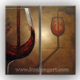 現代抽象的な静物画のワイングラスのキャンバスの芸術の絵画(KLSL-0013)