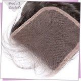 Chiusura del merletto dei capelli umani 4X4 libera/parte centrale del merletto della chiusura del corpo dell'onda del Virgin delle chiusure peruviane dei capelli umani