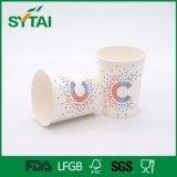 8oz venden al por mayor la taza de papel disponible impresa insignia de encargo de un sólo recinto de Compang